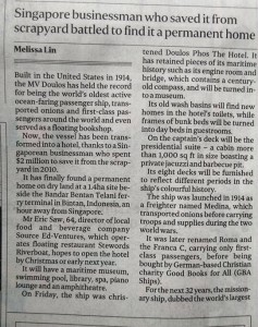 The M/V Doulos has made the papers today!!!